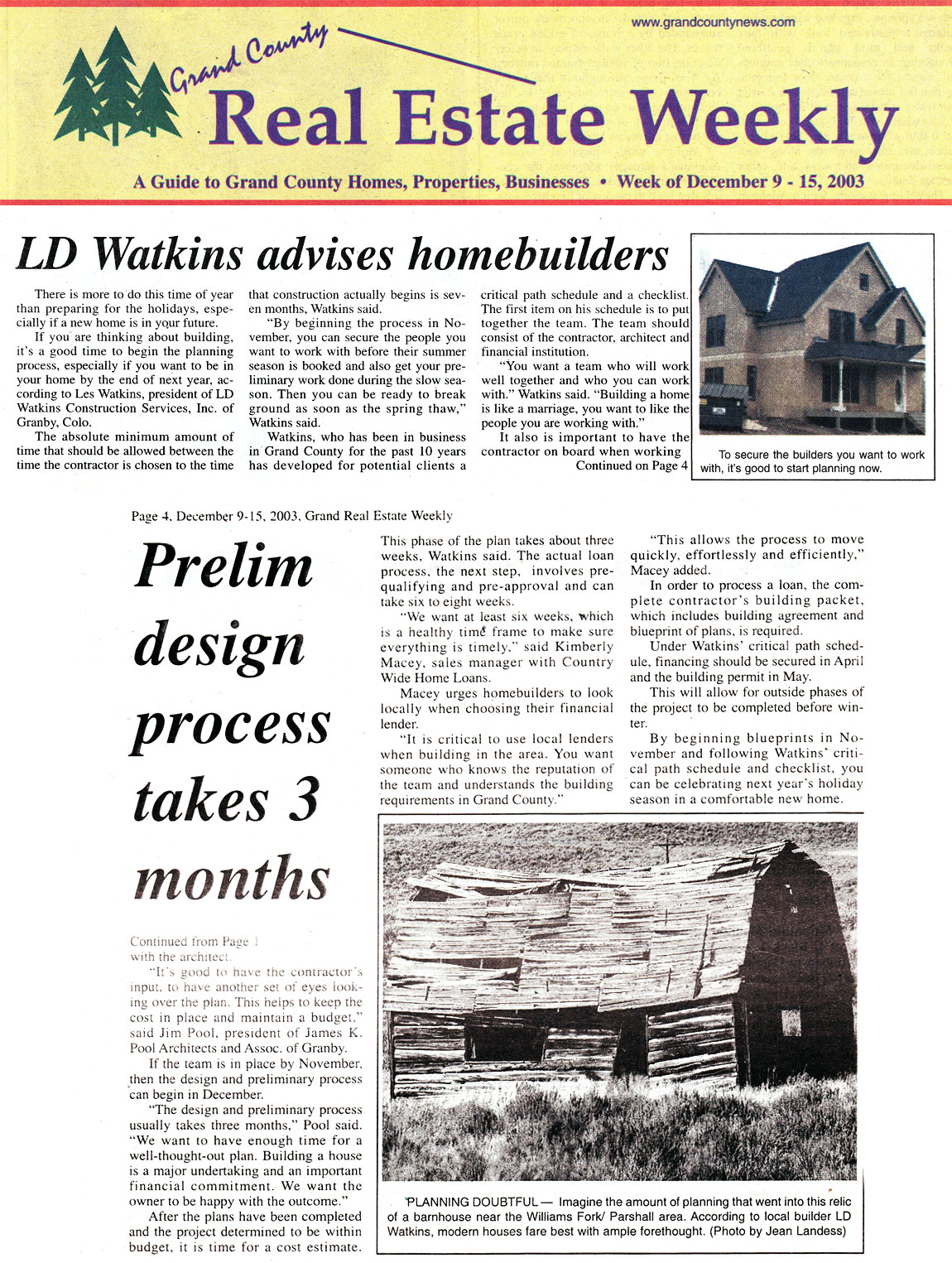 Homebuilder Advise from LD Watkins, as published in December 2003